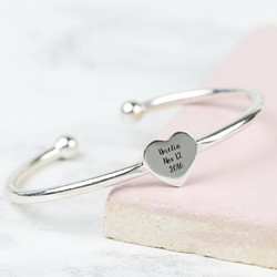 Personalised Sterling Silver Heart Bangle