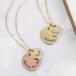 Personalised Solid Gold Double Disc Charm Necklace
