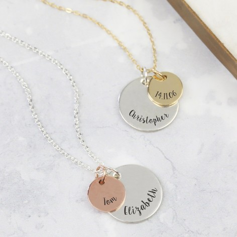 Personalised Solid Gold and Sterling Silver Disc Necklace