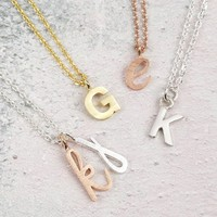 Handmade Mixed Metal Initial Pendant Necklace
