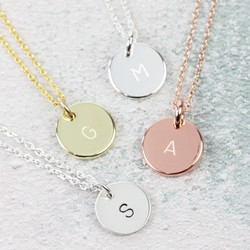 Personalised Initial Disc Charm Necklace