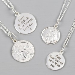 Personalised Sterling Silver St Christopher Pendant Necklace