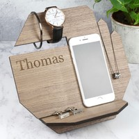Men's Personalised Wooden Hexagonal Accessory Stand