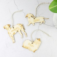 Personalised Wooden Dog Hanging Decoration