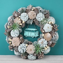 house number frosted glitter pinecone wreath