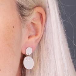 Silver Double Disc Charm Stud Earrings
