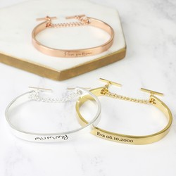 Personalised Open Chain Bangle