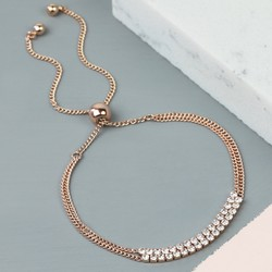 Double Crystal Chain Bracelet in Rose Gold