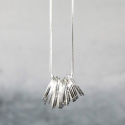 Long Ring Cluster Necklace in Silver