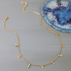 Starry Nights Short Charm Necklace in Gold