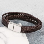 Men's Layered Leather Straps Bracelet in Brown