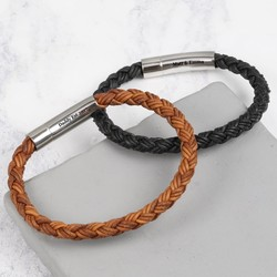 Men's Personalised Rustic Braided Leather Bracelet