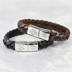 Personalised Men's Thick Woven Leather Bracelet