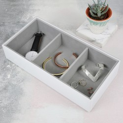 Stackers Deep Glass 3 Section Jewellery Tray in White