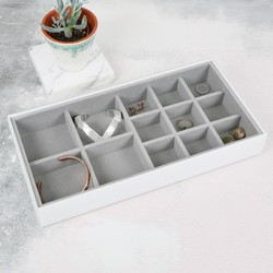 Stackers Glass 13 Section Jewellery Tray in White