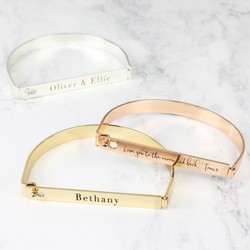 Personalised Flat Front Bar Bangle