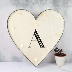 Personalised Initial Industrial Metal LED Heart Light