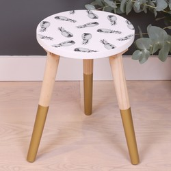 Small Monochrome Pineapple Side Table