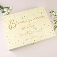 Personalised Engraved Wooden 'Bridesmaid' Box