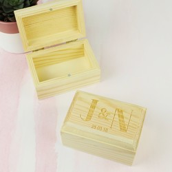 Personalised Engraved Initials Wooden Ring Box