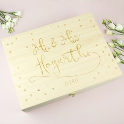 Personalised Engraved Wooden 'Mr & Mrs' Box
