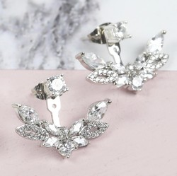 Crystal Leaf Ear Jacket Earrings