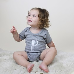 Personalised White Initial Short Sleeved Grey Baby Bodysuit