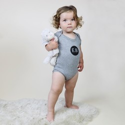 Personalised Black Initial Short Sleeved Grey Baby Bodysuit