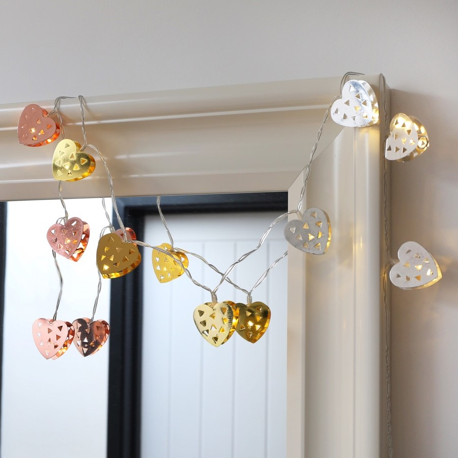 Metal Heart String Lights : Mixed Metal Heart LED String Lights Lighting Lisa Angel