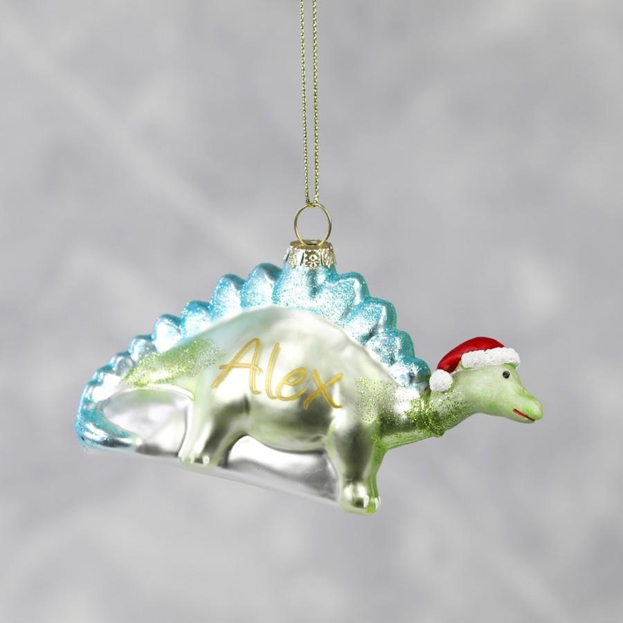 Personalised dinosaur in santa hat bauble lisa angel for Personalised christmas decorations