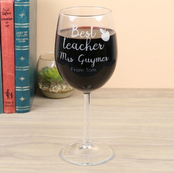 Personalised 'Best Teacher' Wine Glass