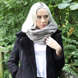 Grey Faux Fur Twist Snood