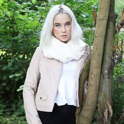 Ivory Faux Fur Twist Snood