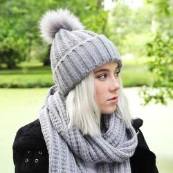 Knitted Pom Pom Hat in Grey