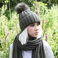 Knitted Pom Pom Hat in Khaki