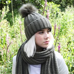 Knitted Pom Pom Hat in Khaki
