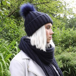 Knitted Pom Pom Hat in Navy