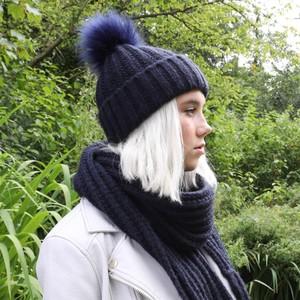 Knitted Pom Pom Hat in Navy
