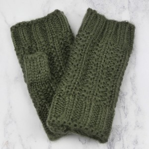 Knitted Hand Warmers in Khaki