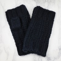 Knitted Hand Warmers in Navy