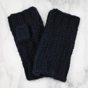 Acrylic knit Handwarmers in Navy