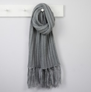 Acrylic Knit Scarf in Grey