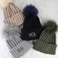 Personalised Knitted Pom Pom Hat