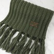 Personalised Knitted Scarf with Tassels in Khaki
