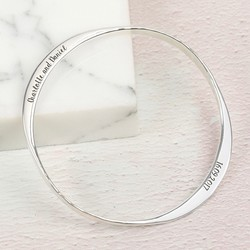 Personalised Hammered Sterling Silver Bangle
