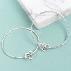 Personalised Sterling Silver Interlocking Charm Bangle