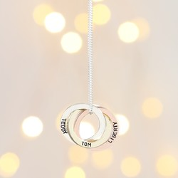 Personalised Solid Gold Russian Rings Pendant Necklace