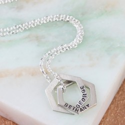 Personalised Sterling Silver Interlocking Hexagons Necklace