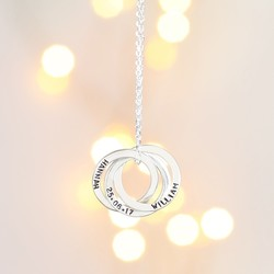 Personalised Sterling Silver Russian Rings Pendant Necklace