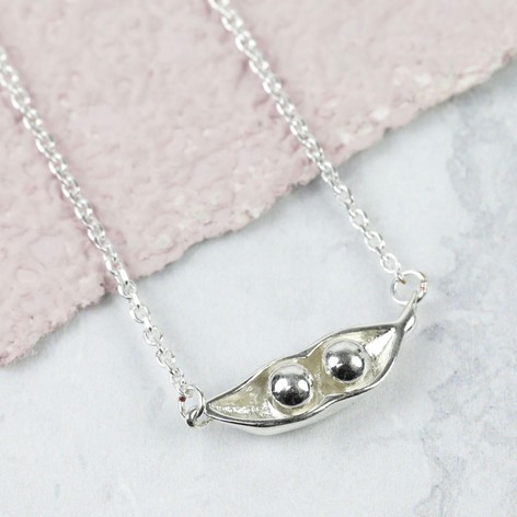 Sterling Silver Two Peas In A Pod Necklace Lisa Angel